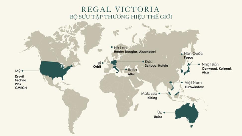 Các thương hiệu mà Đất Xanh Miền Trung ký kết hợp tác tại dự án Regal Victoria.